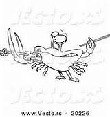 Coloring Crab Playing Violin Fiddler Cartoon Vector Outlined Designs sketch template