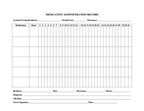 medication administration record template 10 best images of administration record template medication chart free printable medication