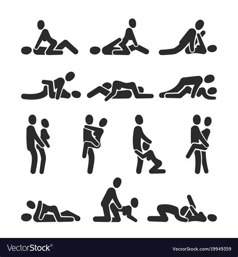 Sexual Position Icons Sex Positioning Royalty Free Vector