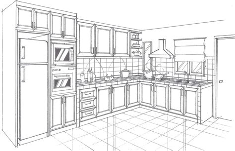 25+ Fanciable Kitchen Interior Perspective Drawing