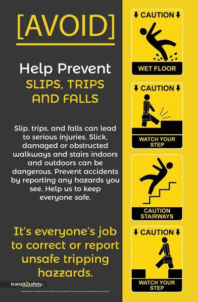 slip trip fall safety posters health  safety poster