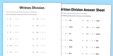 year 6 written division 2 decimal places worksheet activity
