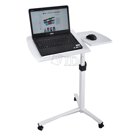 White Angle Height Adjustable Rolling Laptop Desk Over Bed