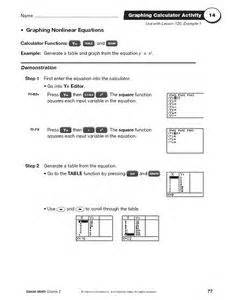 graphing nonlinear equations 9th 11th grade worksheet