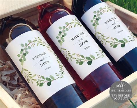 greenery wedding wine label printable wine label