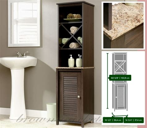 Bathroom Shelves And Cabinets by Bathroom Storage Cabinet Linen Tower Wood Cupboard