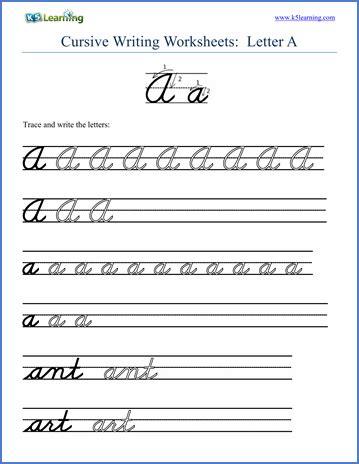 cursive handwriting letter worksheet screenshot from k5