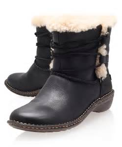 womens ugg work boots ugg black rianne leather ankle boots in black lyst