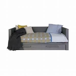 Lit enfant sofa bois massif 90x200 gris acier aarometm01s for Amenagement chambre ado avec matelas renault 80x200