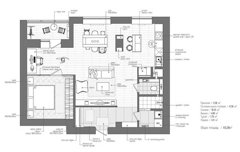 Floors Plans : Eclectic Single Bedroom Apartment With Open Floor Plan