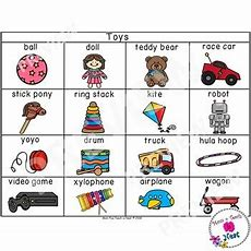 Toy Words Picture Vocabulary Word Cards (color & Bw Version) Tpt
