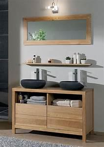 salle de bains stone chene huile et pierre naturelle de With salle de bain design avec double vasque en pierre naturelle