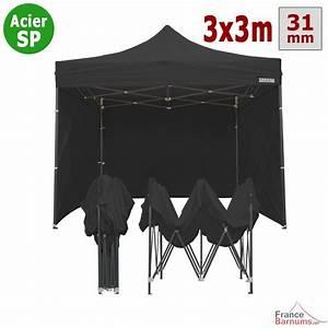Tonnelle Pas Cher Pliante : stand parapluie pas cher 3x3m noir et pack 4 c t s inclus ~ Dailycaller-alerts.com Idées de Décoration