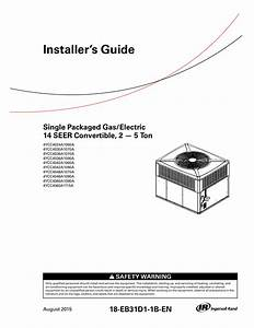 Installer S Guide Single Packaged Cooling  Electric Heat