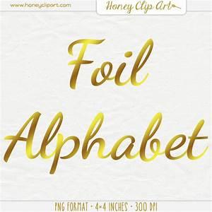 gold foil letter clip art digital foil writing typography With gold foil letters
