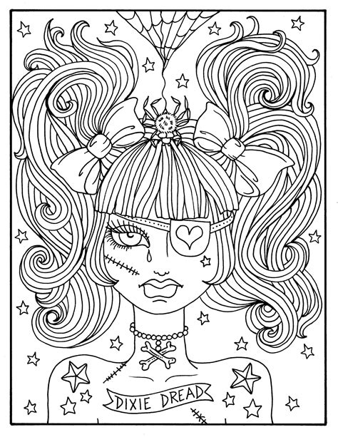 misfit girls  pages halloween misfits creepy cute coloring etsy