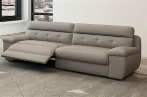 canape 3 places relaxation en cuir italien olsen gris With tapis chambre bébé avec fabricant canape cuir italien