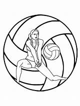 Coloring Volleyball Mycoloring Printable sketch template
