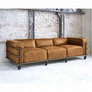 Sofa 4 Sitzer : 4 sitzer sofa im industriestil aus leder havannafarben fabric maisons du monde ~ Eleganceandgraceweddings.com Haus und Dekorationen