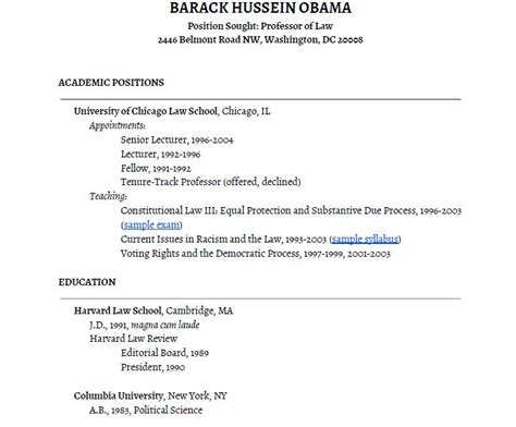Obama Resume by President Obama S Academic Cv By Stevekolowich