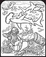 Coloring Shark Pages Sharks Hammerhead Ocean Printable Diver Scuba Sharkboy Sheets Dover Lavagirl Publications Colour Stained Glass Drawing Colouring Crafts sketch template