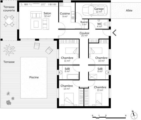 chambre en l plan maison en l avec 4 chambres ooreka