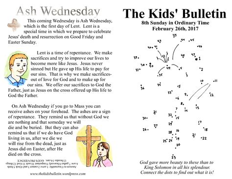 the bulletin 8th sunday and ash wednesday the 345 | the kids bulletin 8th sunday and ash wednesday