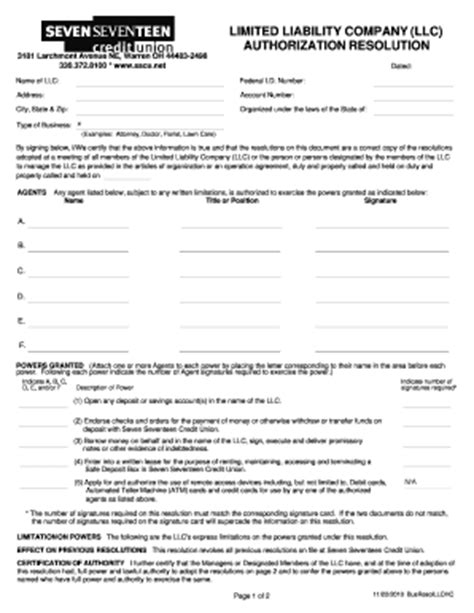 company resolution form fillable online limited liability company llc