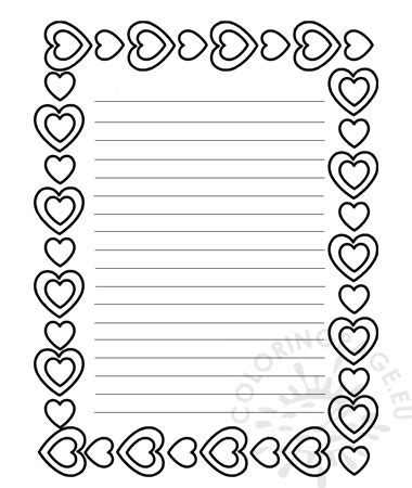 printable valentines day writing paper coloring page