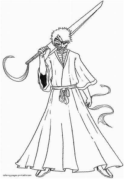 Coloring Pages Ichigo Anime Kurosaki Bleach Printable