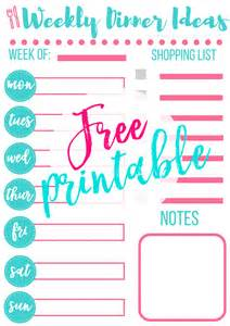 Weekly Meal Planner Menu Printables
