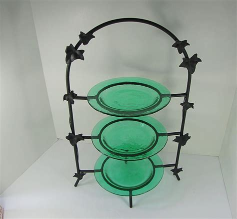 vintage metal pie stand  tier matte black pastry display rack footed kitchen counter  leaves
