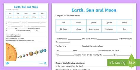 earth sun  moon worksheet worksheet pack