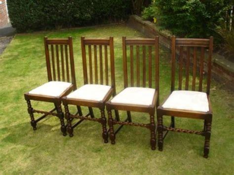 set 4 antique oak barley twist dining chairs kitchen