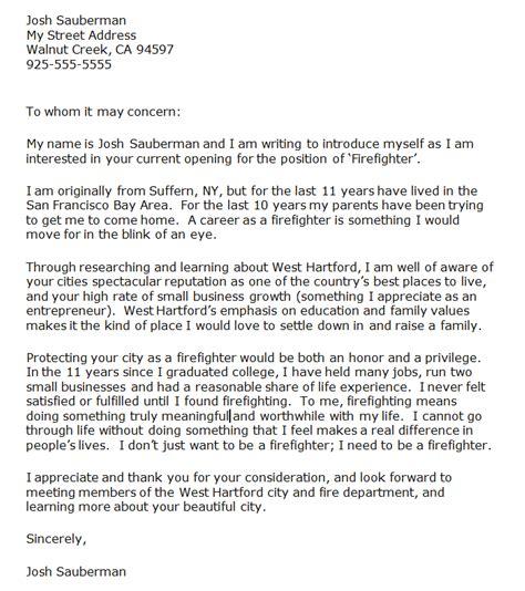 firefighter letter  recommendation cover letter