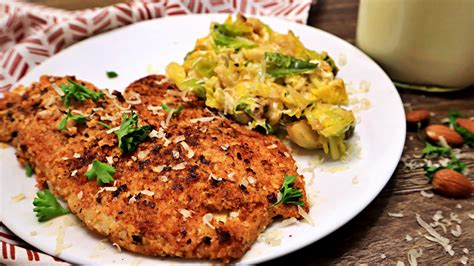 keto almond crusted fish  cheesy brussels sprouts