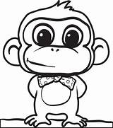 Monkey Coloring Cartoon Printable sketch template