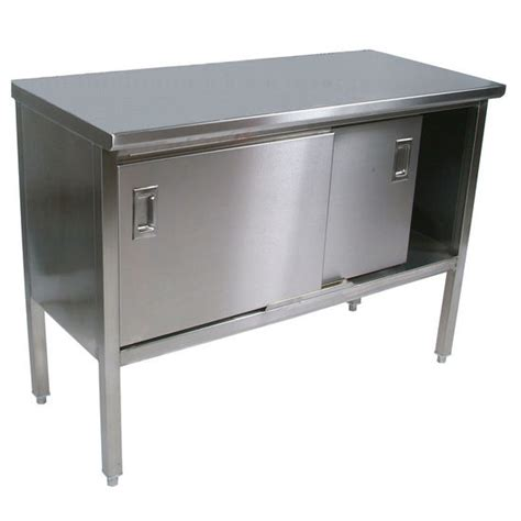 recycling kitchen cabinets work tables stainless steel enclosed table w sliding 1762