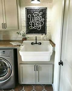 25 best vintage laundry room decor ideas and designs for 2017 for Farmhouse sink for laundry room
