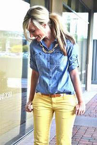 Chambray shirt with yellow jeans u0026 Chunky Necklace! My kind of outfit kids) | Outfits ...