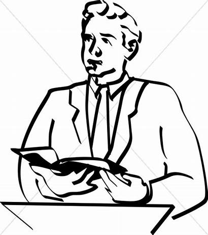 Preacher Bible Clipart Lay Reader Clergy Clip