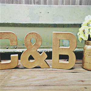 Gold letters set metallic gold wedding from ckweddingcrafts for Giant letters for wedding