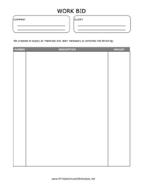 work bid form template