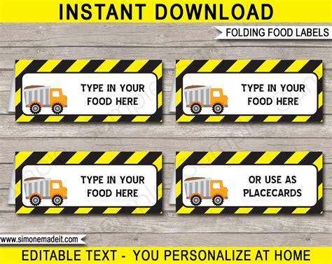 construction cuisine construction food labels place cards