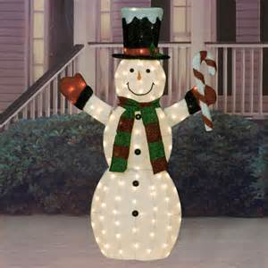 lighted decorations 60 quot iridescent fabric lighted snowman sculpture american sale