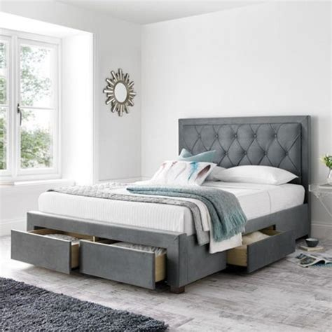 Grey Fabric Bed With Mattress by Buy Happy Beds Woodbury Grey Fabric Storage Bed
