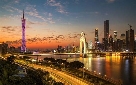 city  china guangzhous  sunset cityscape pearl river