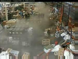 Warehouse Forklift Operator Forklift Collapses Shelves Youtube
