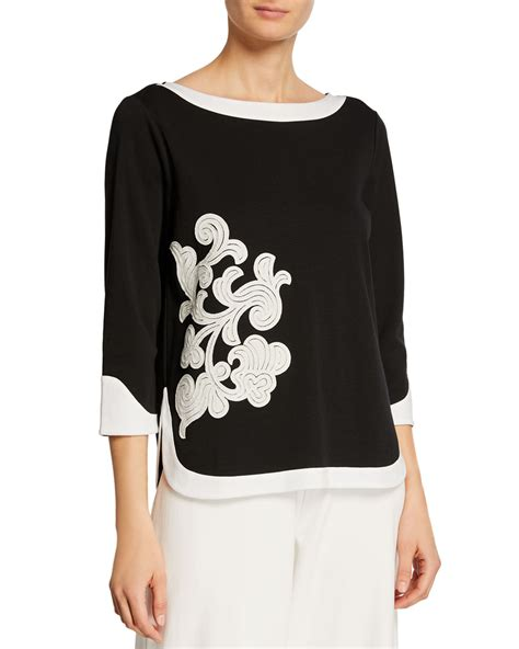 Sleeve Applique Top joan vass colorblock 3 4 sleeve floral applique top