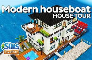 The sims freeplay modern houseboat original design for How to make a second floor on sims freeplay